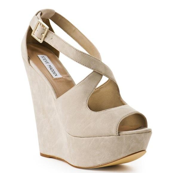 caridad Centrar Paciencia  Steve Madden Shoes | Nude Criss Cross Wedge | Poshmark